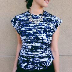 Zara Top Ruffled Zara blouse with black, blue and white design. Full back zipper, rounded hem. Worn once. ❤️no trades. Zara Tops Blouses