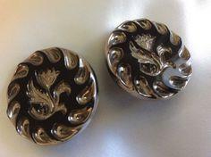 "Vintage Elegant Gold Tone Black Glass Carved Flower 11 8"" Clip Earrings | eBay"