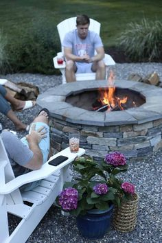 Fire Pit Seating, Fire Pit Area, Fire Pit Backyard, Fire Pit On Pavers, Stone Fire Pits, Fire Pit Near Pool, Outdoor Fire Pits, Garden Fire Pit, Outdoor Stone