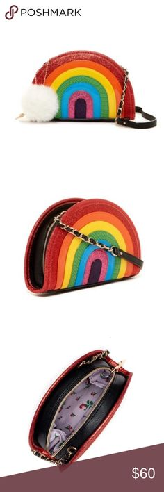 """🎈HP🎈Price Firm🌈Betsey Johnson Rainbow Crossbody Price Firm. Betsey Johnson Rainbow Crossbody with Faux Fur Pompom Key Chain. Attached chain accent shoulder strap. Zip top closure. Exterior features rainbow detail and removable faux fur pompom key chain. Approx. 6"""" H x 9"""" W x 1.5"""" D. Approx. 22.5"""" strap drop. Betsey Johnson Bags Crossbody Bags"""