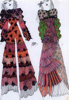 Fashion illustration by Celia Birtwell, ca 1970.