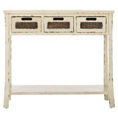 hmmm- a possibility Distressed elm wood console table with woven panels.