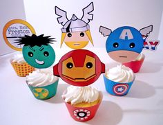 Avengers Superhero Digital Printable Party Cupcake Wrappers and Toppers. $10.00, via Etsy.