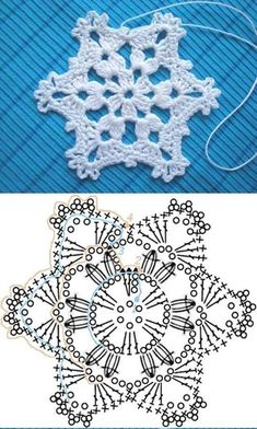 Wonderful DIY Crochet Snowflakes With Pattern - Szydełko Crochet Snowflake Pattern, Christmas Crochet Patterns, Crochet Christmas Ornaments, Crochet Stars, Crochet Snowflakes, Holiday Crochet, Snowflake Ornaments, Christmas Knitting, Christmas Star