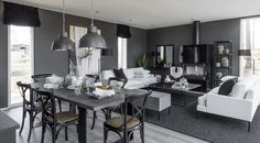 kuva Black And White Interior, My House, Dining Table, Cottage, Ceiling Lights, Living Room, Furniture, Design, Home Decor