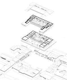 MÉDIATHÈQUE RAYMOND LAFAGE / architecture / Araxo / axonométric / filaire / noir & blanc / section
