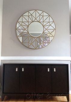 gold gem round wall mirror via New Dining Room Mirror | Otter and Wolf