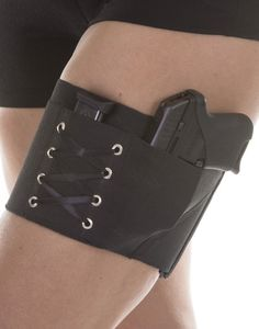 """Can Can Concealment Garter Holsters - M - Black - for compact guns up to 6"""" combined barrel and frame length"""
