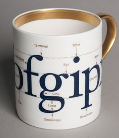 A mug from a range of typographically themed tableware for Flux of Stoke-on-Trent