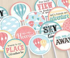 HOT AIR BALLOON Baby Shower Party Circles & by PrintasticDesign