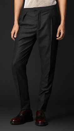 Relaxed Fit Wool Cashmere Tweed Trousers | Burberry