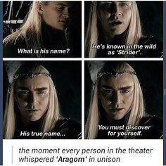 I bet he didn't tell Legolas because he forgot his name<<<<<technically, Aragorn was still living in Rivendell at this time, he was just a kid