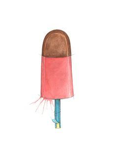 """Kræsj Pink"" (Norwegian retro posicle)  Copyright: Emmeselle.no   illustration by Mona Stenseth Larsen Pop Art, Nostalgia, Slippers, Memories, Cool Stuff, Prints, Bags, Popsicles, Watercolor"