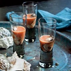 Bloody Mary Oyster Shooters- I don't eat raw oysters. Recipe looks interesting!