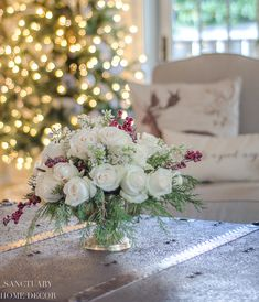 An Easy DIY White Rose and Pine Winter Centerpiece - Sanctuary Home Decor Winter Centerpieces, Wedding Table Centerpieces, Flower Centerpieces, Centerpiece Ideas, Wedding Decoration, Christmas Flower Arrangements, Floral Arrangements, Table Arrangements, White Roses