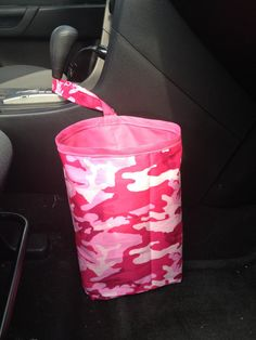 Pink Camo Car Litter Bag by Brea Boutique. Now available in the shop!!