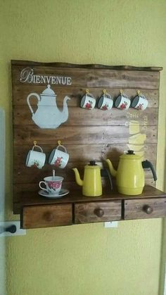 Coffee home innovative as well as modern style will certainly include character . Coffee Station Kitchen, Coffee Bar Home, Home Coffee Stations, Coffee Corner, Paint Colors For Living Room, Decorating Coffee Tables, Kitchen Decor, Decorating Kitchen, Diy And Crafts