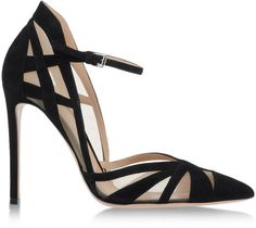 Gianvito Rossi | Suede and Mesh Pump in black suede with nude-mesh panels, featuring cut-out detailing, a pointed toe, low-cut sides, a high heel counter, a buckled ankle strap and a very high wrapped stiletto heel | from Shopstyle.com (sold out as of June 2018)