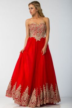 STRAPLESS PROM DRESS FT10170.  Full Length A-Line Prom and Evening Gown has Sparkling Beading Embellished Embroidery Applique Bodice with Sweetheart and Strapless Neckline. Solid Color Long Skirt with Embroidered Hem Completes the Style.  https://www.dresstopic.com/prom-dresses/strapless-prom-dress-ft10170