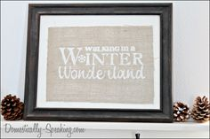 Walking in a Winter Wonderland Burlap Sign how to use freezer paper stencil