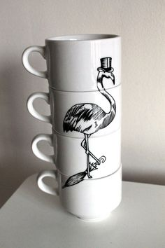 flamingo stacking coffee cups. yes please.