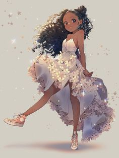 Girl Cartoon, Girl Drawing, Black Girl Cartoon, Black Anime Characters, Cute Art, Kawaii Black Girl, Black Girl Art, Black Cartoon, Black Love Art