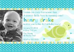 Sea Turtle Invitation for Birthday Party or Baby Shower DIY Boys Printable Photo Invite by BeeAndDaisy via Etsy