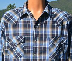 f04a60ca vintage 80s shirt plaid WESTERN blue black pearl snap rockstar cowboy XL  Large plains