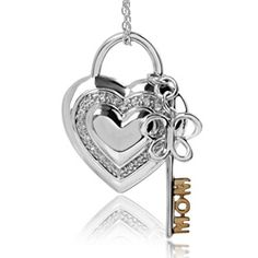This stunning Heart-Butterfly Lock and Key Pendant is part of the Jessica Simpson Fine Jewelry Collection.