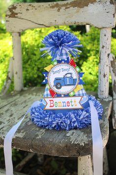 Little Blue Truck Birthday Party Hat - Little Blue Truck Birthday - Boy Birthday - Blue Truck Birthday Party Decorations Birthday Party Hats, 1st Boy Birthday, Birthday Party Decorations, Little Blue Trucks, Birthday Photos, Birthday Ideas, Party Time, First Birthdays, Crepe Paper