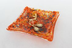 LARGE RING DISH  Orange Crush Fused Glass by SunflowerGlassworks, $9.50