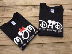 Mom and dad disney shirts, birthday girl , birthday boy, Mickey Mouse , Minnie Mouse , Disney land , disney world, birthday party , by MonkeyToesHairBows on Etsy https://www.etsy.com/listing/499585193/mom-and-dad-disney-shirts-birthday-girl
