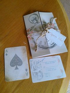 Alice in Wonderland Wedding Invitations with matching RSVP's, envelopes :) very sweet rustic and bookish idea...