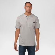 Dickies Men's Big & Tall Cotton Heavyweight Short Sleeve Pocket Henley Shirt- Heather Gray Xxl Tall