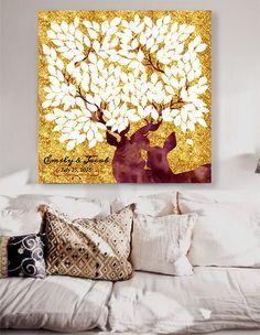 Country Matrimonio Guestbook alternativo Albero guestbook con cervi sfondo glitter oro. 200 ospiti. Matrimonio natale guest book