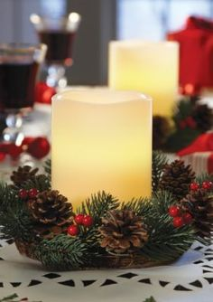 Order  Home Collection  2-Pack Holiday Wreaths and Flameless Candles