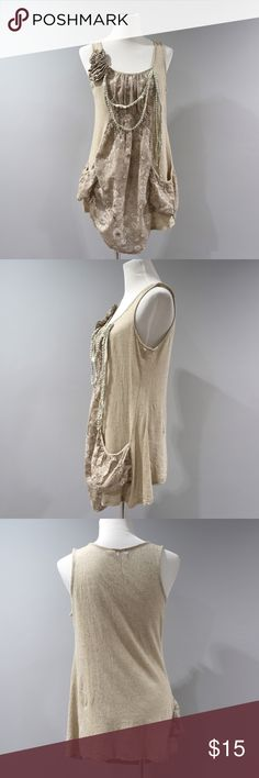 """Charming Charlie Tank Top Tunic Womens Large Hemp • Tagged size large • Measures approx: 31"""" Shoulder to Hem and 19"""" Armpit to Armpit Measured flat.  • 65% Hemp, 35% Cotton • No flaws to note.  • all products in our shop come to us second hand and may be new or used. We do launder most items and will note if we not. We do our best to photograph and note any flaws we see. Our home is smoke free. Please contact us with any questions. Charming Charlie Tops Tunics"""