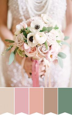 Soft and Romantic bridal bouquet | Pretty Bouquet Palettes to Inspire your Spring Wedding | www.onefabday.com