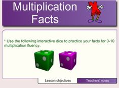This Smartboard activity reviews multiplication facts using interactive dice. This is a great change of pace from flash cards! prountree...