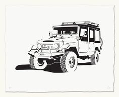We are proud to offer this limited series of 50 (per design) ICON Hand Painted Stencil prints. Stencil Painting, Car Painting, Toyota Land Cruiser, Land Cruiser 70 Series, 4x4, Toyota Fj40, Urban Street Art, Car Illustration, Expedition Vehicle