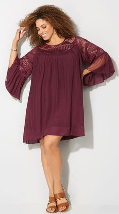 76cd70450e7 Plus Size Crochet Bell Sleeve Trapeze Dress Plus Size Western Wear
