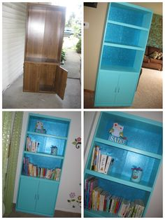 Sadie's new bookcase. Bought at thirft store, painted, added glittered scrapbook paper and new hardware. Sadie loves it!