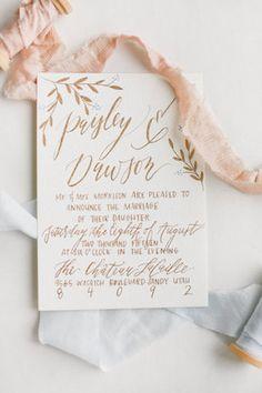Gold calligraphy wedding invitation   Ivy & Stone Photography   see more on: http://burnettsboards.com/2015/11/world-european-romance-themed-wedding/