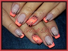 Neon coral French tips with black swirls nail art & glitter (by Radi D) using China Glaze's Flip Flop Fantasy + black acrylic paint (hand-painted)