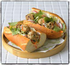 Vietnamese spicy meatball baguette