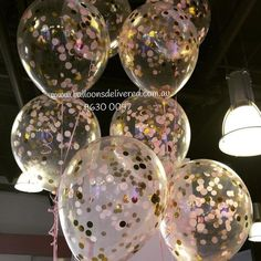 Our mid size confetti balloons in light pink and gold... #confetti…