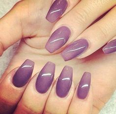 Purple ombre nail art on coffin nails