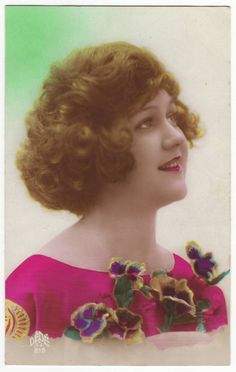 French postcard - Girl with flowers - Vintage hand tinted postcard - Antique - 1920's