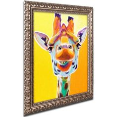 Trademark Fine Art Giraffe No. 3 inch Canvas Art by DawgArt, Gold Ornate Frame, Size: 11 x 14