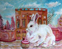 Petit Trianon Limited Edition Archival Print of an by KimAnnabella, €10.00 Art Reproduction Limited Edition Painting Print Rabbit Pink Marie Antoinette Pop Surrealism Acrylic Canvas Rococo Baroque Cupcake Cherry Pastel Goth  Paint Canvas